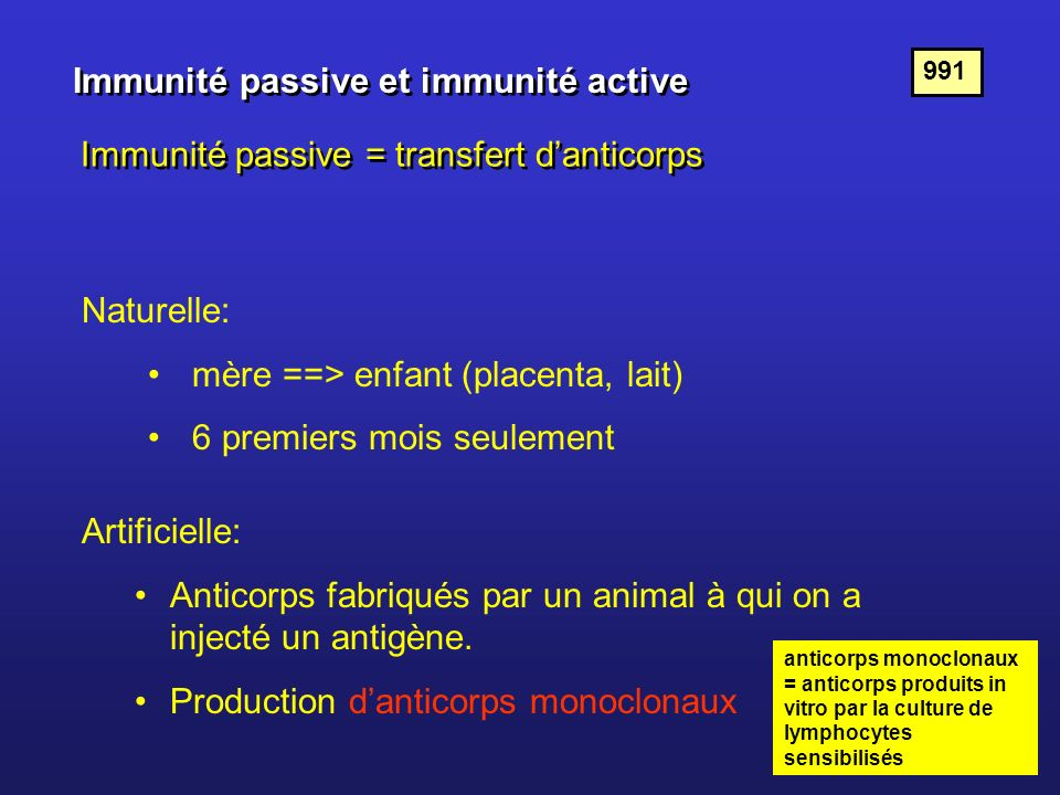 Immunité passive et immunité active Immunité passive = transfert danticorps Naturelle: mère ==> enfant (placenta, lait) 6 premiers mois seulement Arti