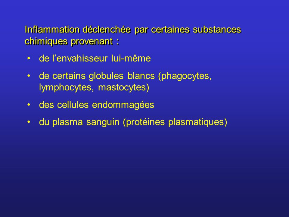 Lhistamine = hormone libérée par des globules blancs : basophiles (circulent dans le sang) et mastocytes (présents dans les tissus conjonctifs) Un des principaux facteur chimique = histamine LAspirine (acide acétyl-salycilique) a des propriétés analgésiques et anti-inflammatoires.