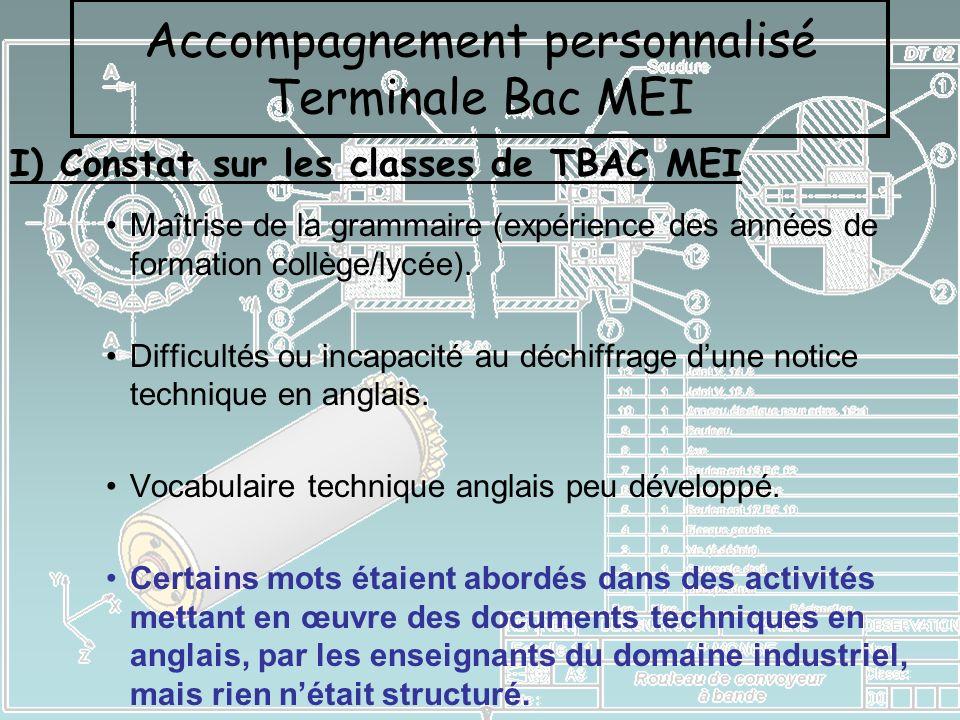 I) Constat sur les classes de TBAC MEI Accompagnement personnalisé Terminale Bac MEI Maîtrise de la grammaire (expérience des années de formation coll