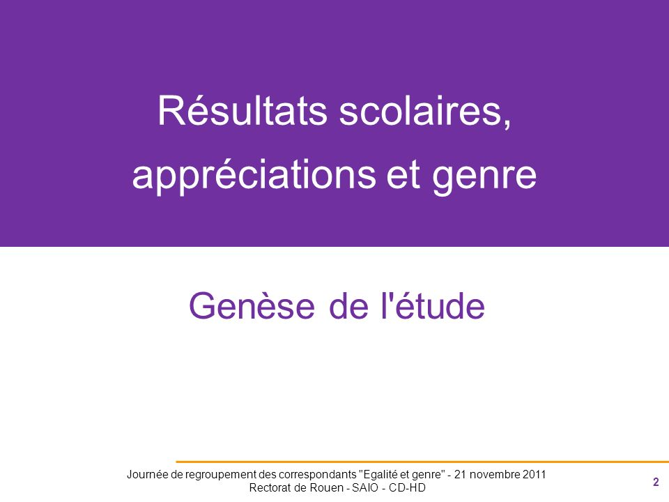 43 Journée de regroupement des correspondants Egalité et genre - 21 novembre 2011 Rectorat de Rouen - SAIO - CD-HD Plus fréquent chez les femmes professeures Plus fréquent chez les hommes professeurs Mathématiques Français Très fréquent FrançaisMathématiques ------------------------ ---------------------------------- Bon, satisfaisant, positif 33% (8pts) Participation 14% (12pts) Falloir 17% (2pts) Résultats 24% (8pts) Bon, satisfaisant, positif (28% 4pts) Sérieux 19% (18pts) Prén F 7% (7pts) Travail 39% (3pts) Mieux progrès 21% (8pts) Poursuivre continuer 17% (8pts) Effort 15% (3pts) (ir)régularité 13% (5pts) Convenable 12% (12pts) Faible fragile 12% (5pts) Travail 38% (1pt) Résultats 28% (10pts) Mieux progrès 24% (9pts) Poursuivre continuer 17% (7pts) Effort 15% (2pts) (ir)régularité 11% (3pts) Falloir 21% (3pts) Faible fragile 11% (6pts) Prénoms F 10% (4pts) Prén G 9%( 3pts) Prén G 9% (4pts) Timide 16% (3pts)