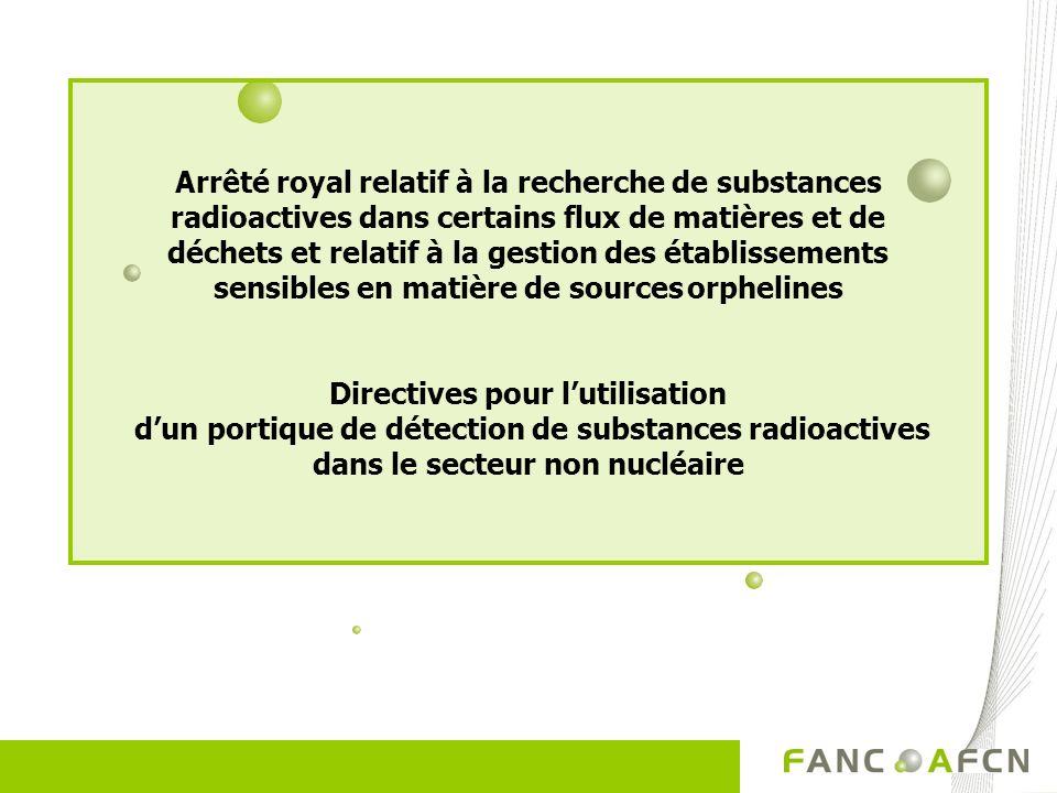 Arrêté royal relatif à la recherche de substances radioactives dans certains flux de matières et de déchets et relatif à la gestion des établissements sensibles en matière de sources orphelines Directives pour lutilisation dun portique de détection de substances radioactives dans le secteur non nucléaire