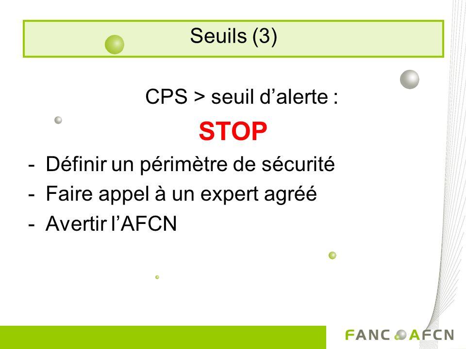 CPS > seuil dalerte : STOP -Définir un périmètre de sécurité -Faire appel à un expert agréé -Avertir lAFCN Seuils (3)