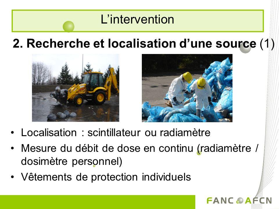 2. Recherche et localisation dune source (1) Localisation : scintillateur ou radiamètre Mesure du débit de dose en continu (radiamètre / dosimètre per