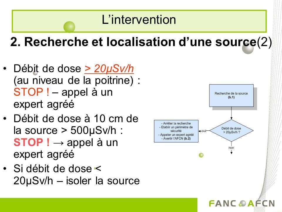 2. Recherche et localisation dune source(2) Débit de dose > 20µSv/h (au niveau de la poitrine) : STOP ! – appel à un expert agréé Débit de dose à 10 c
