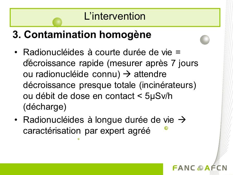 3. Contamination homogène Radionucléides à courte durée de vie = décroissance rapide (mesurer après 7 jours ou radionucléide connu) attendre décroissa