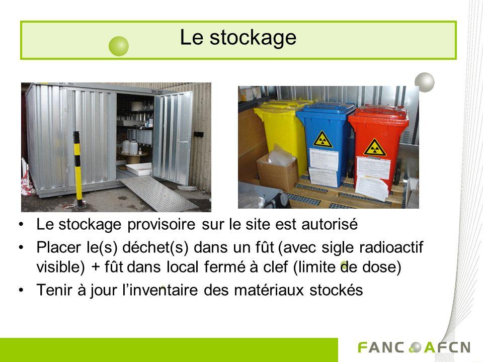 Le stockage provisoire sur le site est autorisé Placer le(s) déchet(s) dans un fût (avec sigle radioactif visible) + fût dans local fermé à clef (limite de dose) Tenir à jour linventaire des matériaux stockés Le stockage