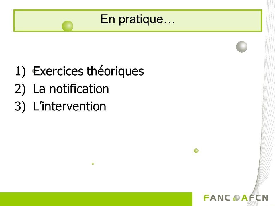 1)Exercices théoriques 2)La notification 3)Lintervention En pratique…