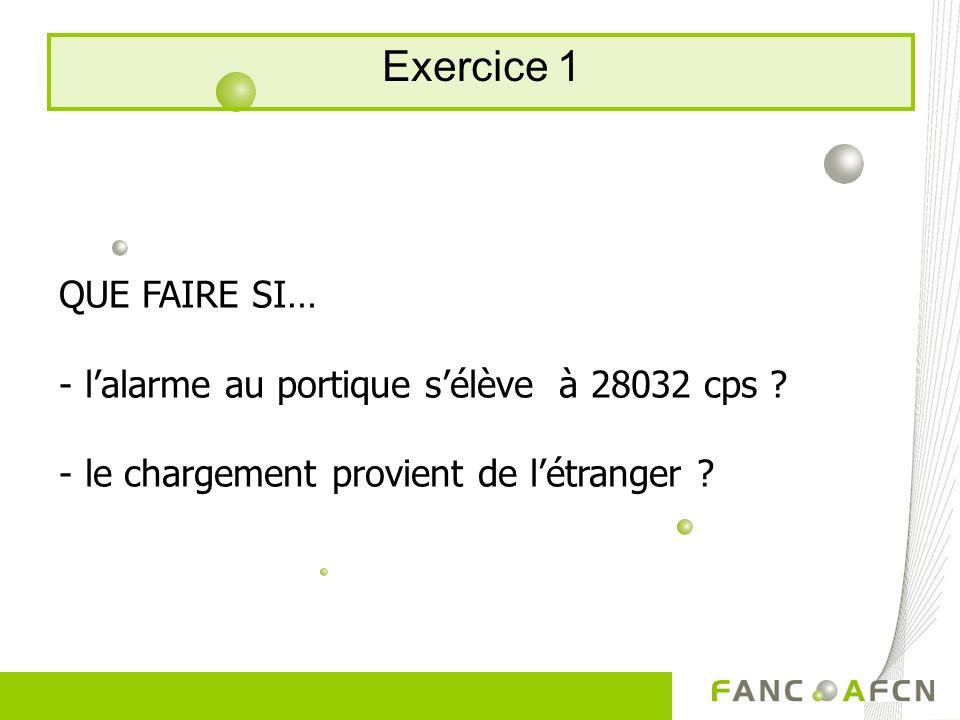 Exercice 1 QUE FAIRE SI… - lalarme au portique sélève à 28032 cps ? - le chargement provient de létranger ?