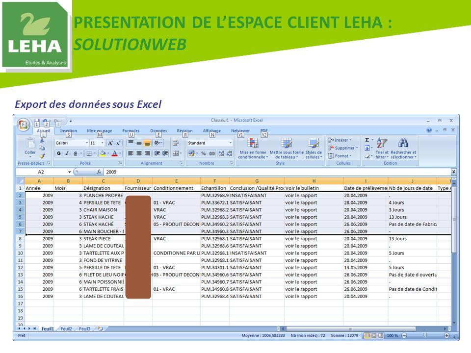 PRESENTATION DE LESPACE CLIENT LEHA : SOLUTIONWEB Export des données sous Excel
