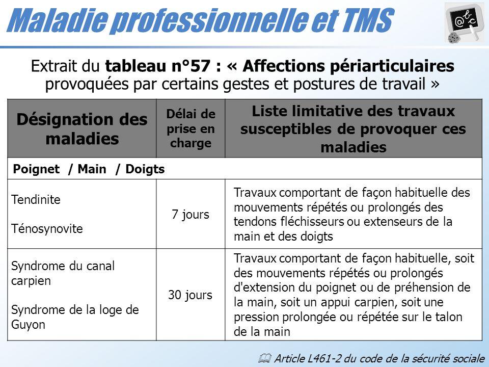 Maladie professionnelle et TMS Désignation des maladies Délai de prise en charge Liste limitative des travaux susceptibles de provoquer ces maladies P