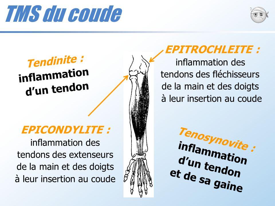 EPICONDYLITE : inflammation des tendons des extenseurs de la main et des doigts à leur insertion au coude EPITROCHLEITE : inflammation des tendons des