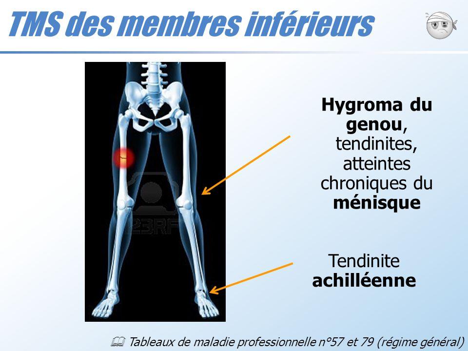 TMS des membres inférieurs Hygroma du genou, tendinites, atteintes chroniques du ménisque Tendinite achilléenne Tableaux de maladie professionnelle n°