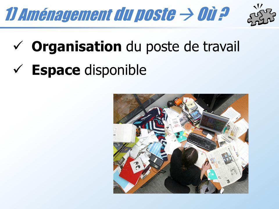 1) Aménagement du poste Où ? Organisation du poste de travail Espace disponible