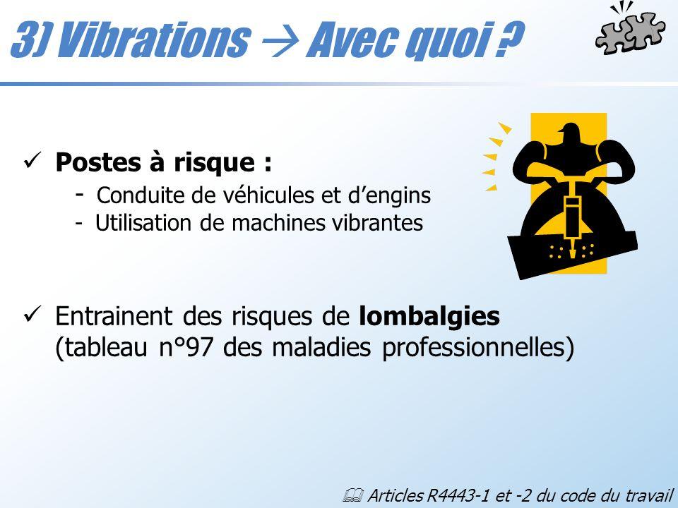 3) Vibrations Avec quoi ? Postes à risque : - Conduite de véhicules et dengins - Utilisation de machines vibrantes Entrainent des risques de lombalgie