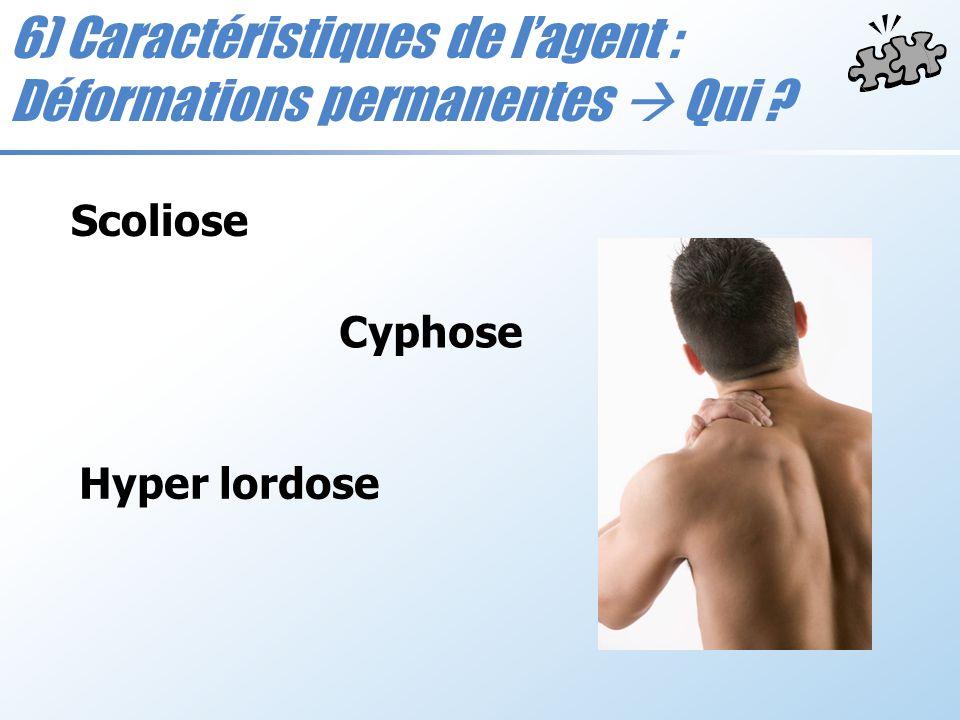 6) Caractéristiques de lagent : Déformations permanentes Qui ? Scoliose Cyphose Hyper lordose