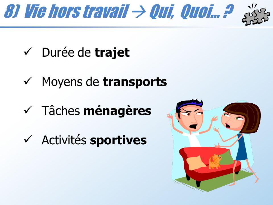 8) Vie hors travail Qui, Quoi… ? Durée de trajet Moyens de transports Tâches ménagères Activités sportives
