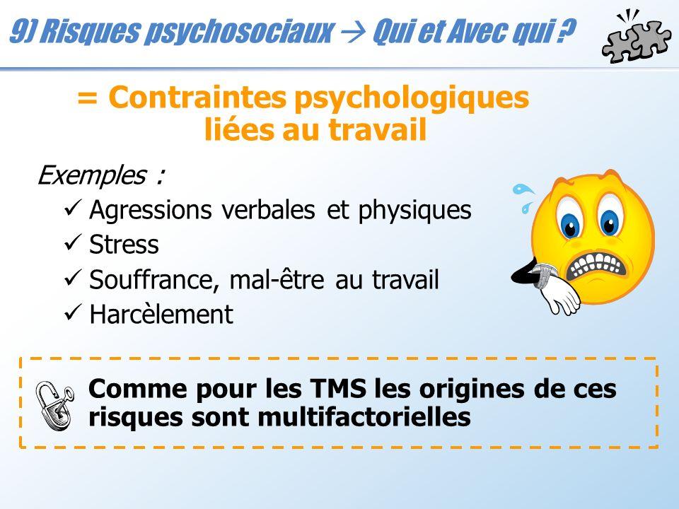 9) Risques psychosociaux Qui et Avec qui ? = Contraintes psychologiques liées au travail Exemples : Agressions verbales et physiques Stress Souffrance