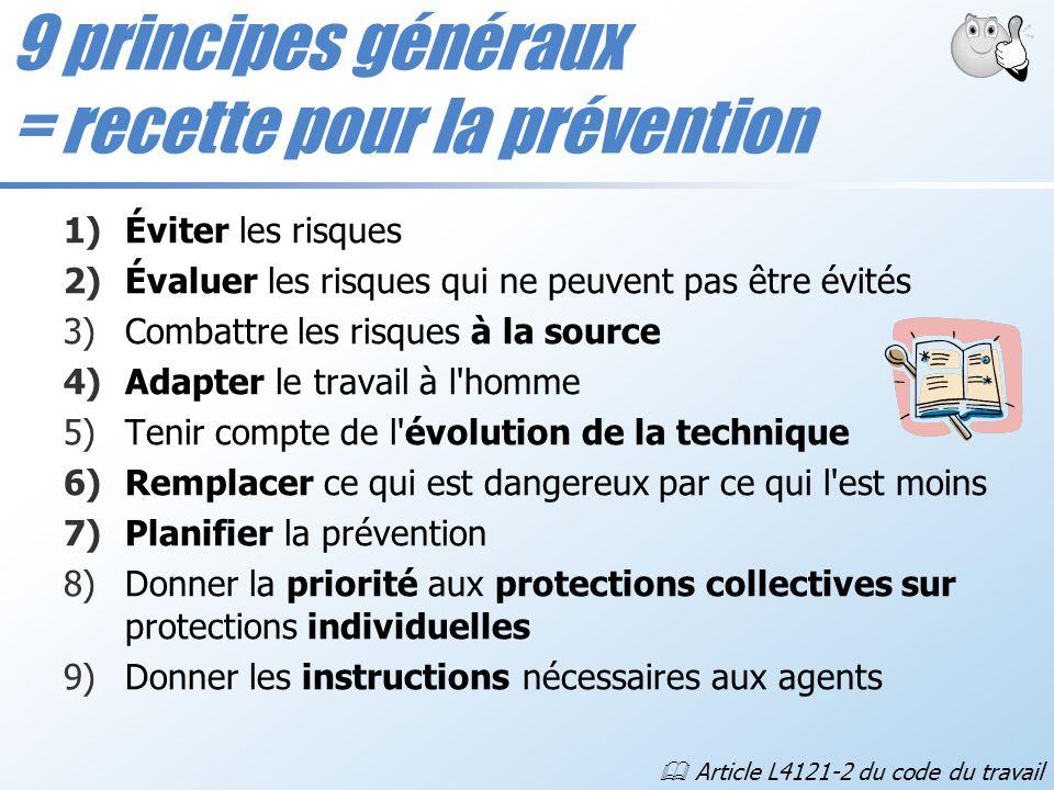1)Éviter les risques 2)Évaluer les risques qui ne peuvent pas être évités 3)Combattre les risques à la source 4)Adapter le travail à l'homme 5)Tenir c