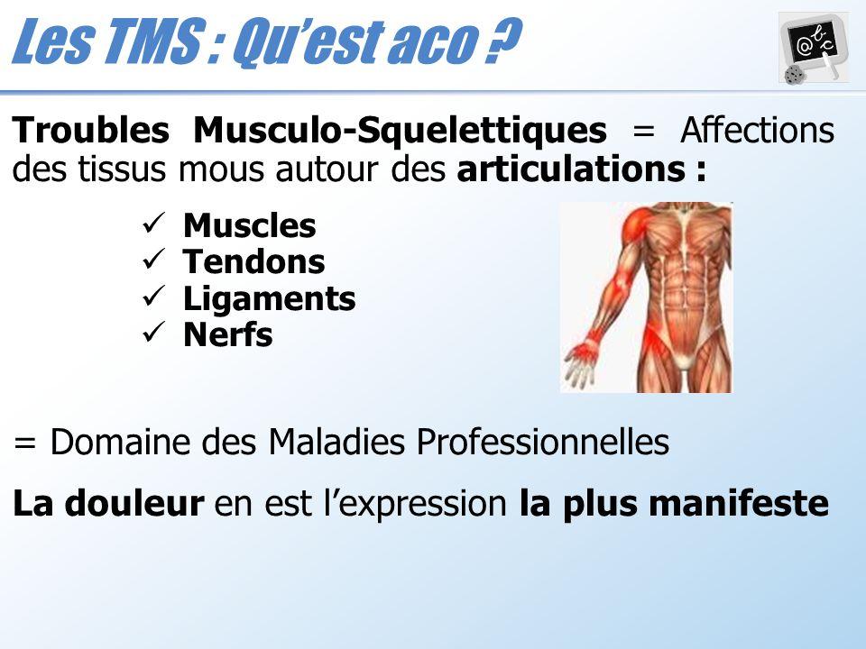 Les TMS : Quest aco ? Troubles Musculo-Squelettiques = Affections des tissus mous autour des articulations : Muscles Tendons Ligaments Nerfs = Domaine