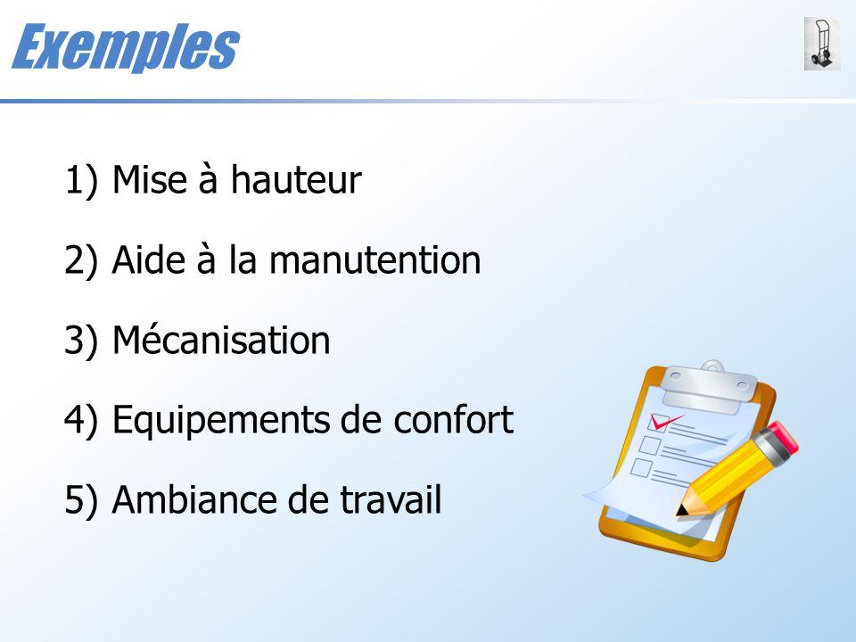 Exemples 1)Mise à hauteur 2)Aide à la manutention 3)Mécanisation 4)Equipements de confort 5)Ambiance de travail