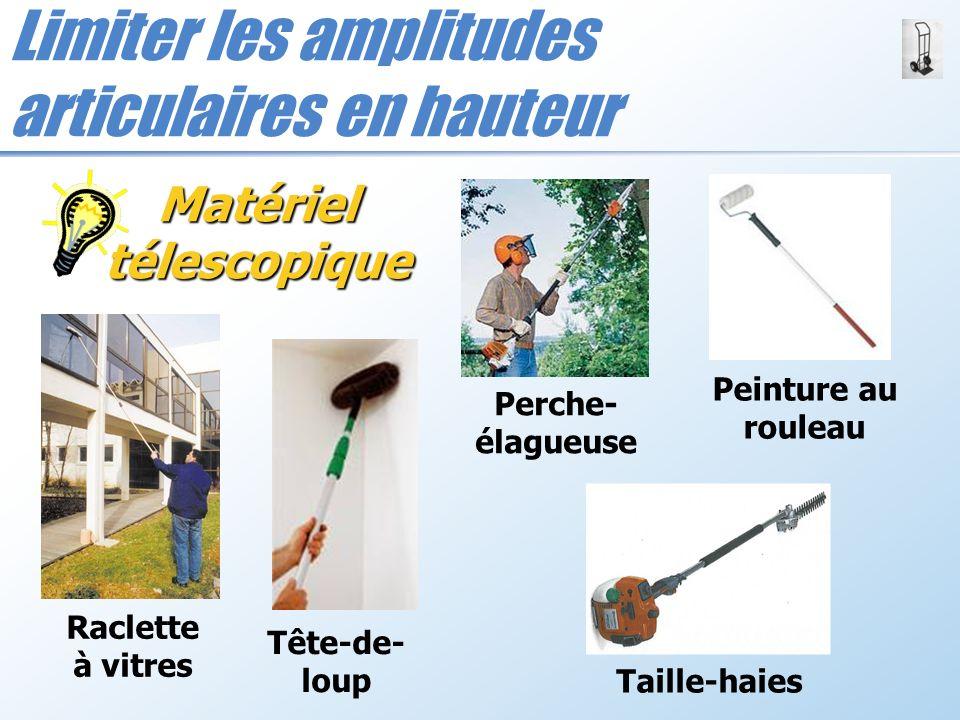 Limiter les amplitudes articulaires en hauteur Matériel télescopique Raclette à vitres Peinture au rouleau Tête-de- loup Taille-haies Perche- élagueus