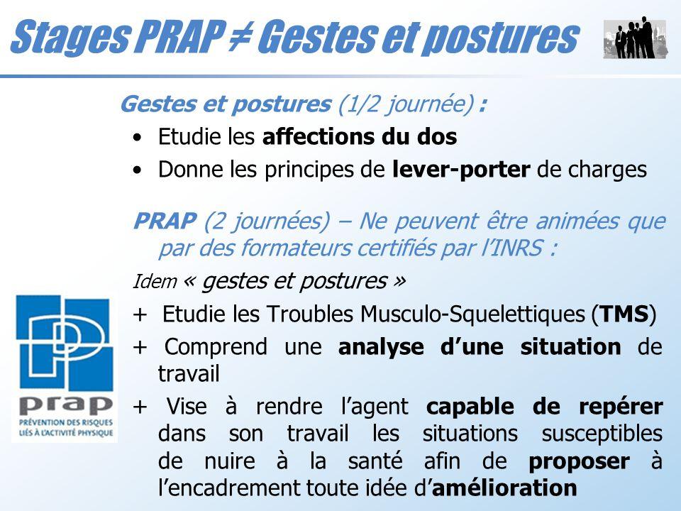 Gestes et postures (1/2 journée) : Etudie les affections du dos Donne les principes de lever-porter de charges PRAP (2 journées) – Ne peuvent être ani