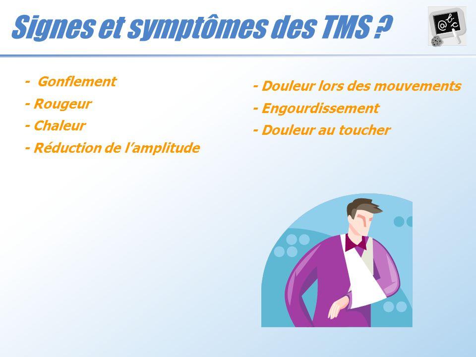 Signes et symptômes des TMS ? - Gonflement - Rougeur - Chaleur - Réduction de lamplitude - Douleur lors des mouvements - Engourdissement - Douleur au