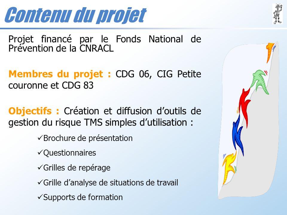 Contenu du projet Projet financé par le Fonds National de Prévention de la CNRACL Membres du projet : CDG 06, CIG Petite couronne et CDG 83 Objectifs