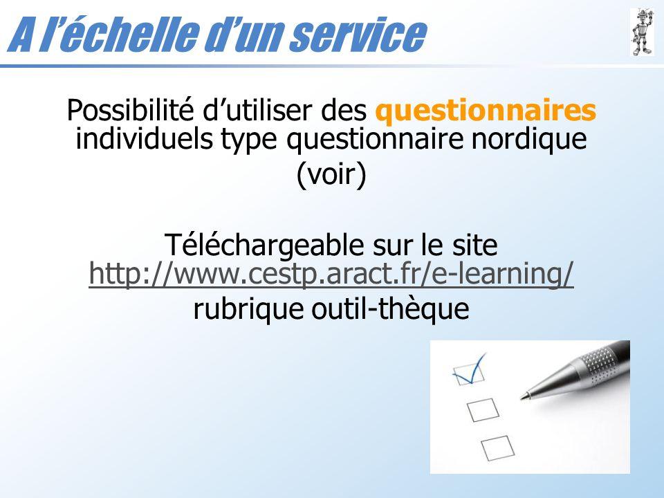 A léchelle dun service Possibilité dutiliser des questionnaires individuels type questionnaire nordique (voir) Téléchargeable sur le site http://www.c