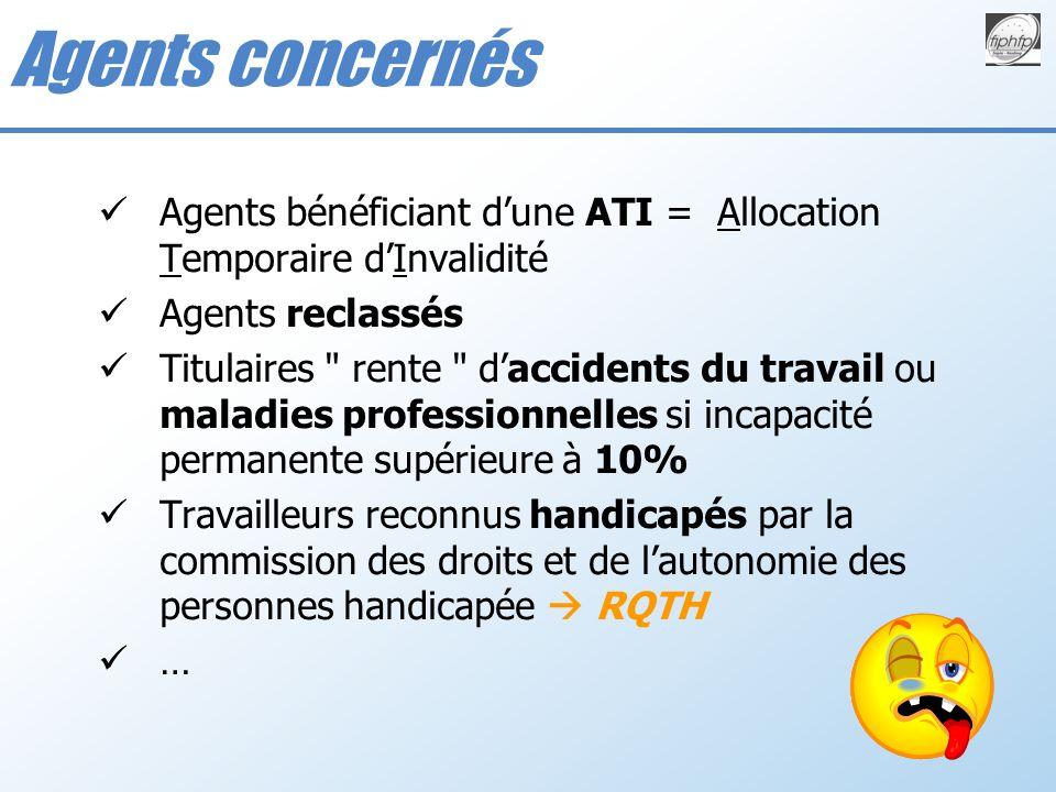 Agents bénéficiant dune ATI = Allocation Temporaire dInvalidité Agents reclassés Titulaires