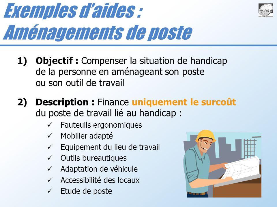 1)Objectif : Compenser la situation de handicap de la personne en aménageant son poste ou son outil de travail 2)Description : Finance uniquement le s