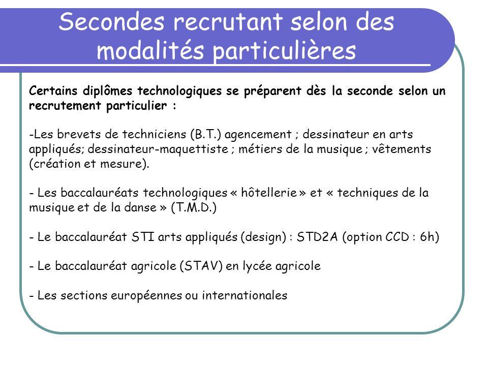 Secondes recrutant selon des modalités particulières Certains diplômes technologiques se préparent dès la seconde selon un recrutement particulier : -