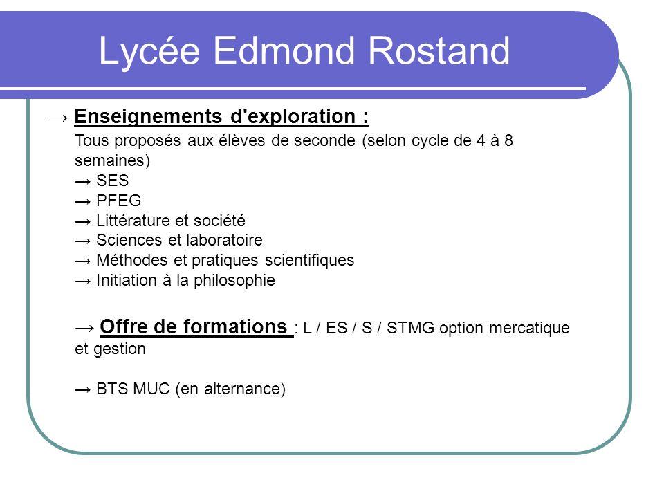 Lycée Edmond Rostand Enseignements d'exploration : Tous proposés aux élèves de seconde (selon cycle de 4 à 8 semaines) SES PFEG Littérature et société