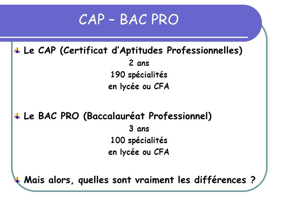 CAP – BAC PRO Le CAP (Certificat dAptitudes Professionnelles) 2 ans 190 spécialités en lycée ou CFA Le BAC PRO (Baccalauréat Professionnel) 3 ans 100