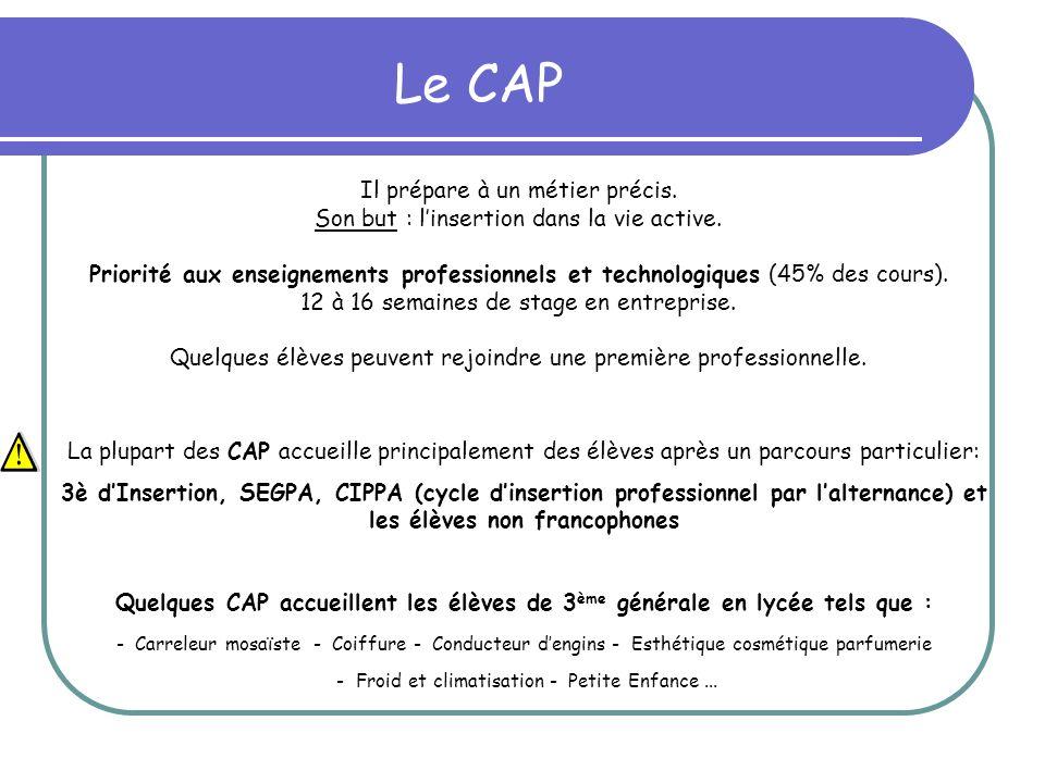 Le CAP La plupart des CAP accueille principalement des élèves après un parcours particulier: 3è dInsertion, SEGPA, CIPPA (cycle dinsertion professionn