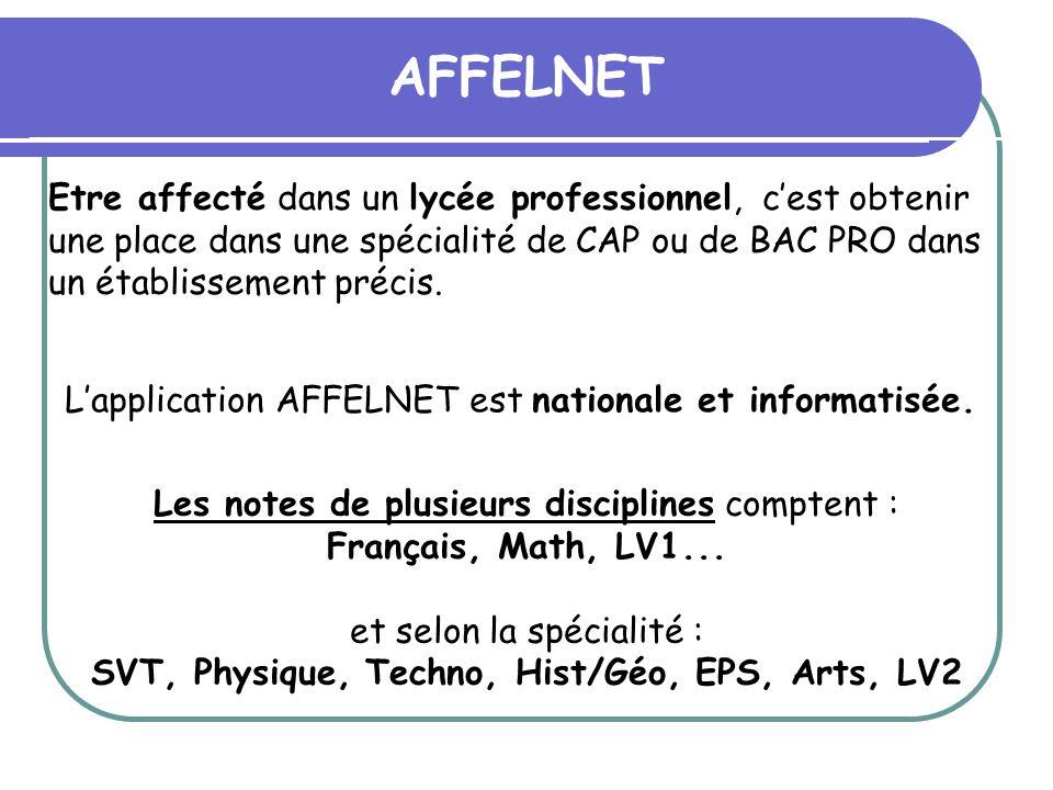 AFFELNET Lapplication AFFELNET est nationale et informatisée. Les notes de plusieurs disciplines comptent : Français, Math, LV1... et selon la spécial