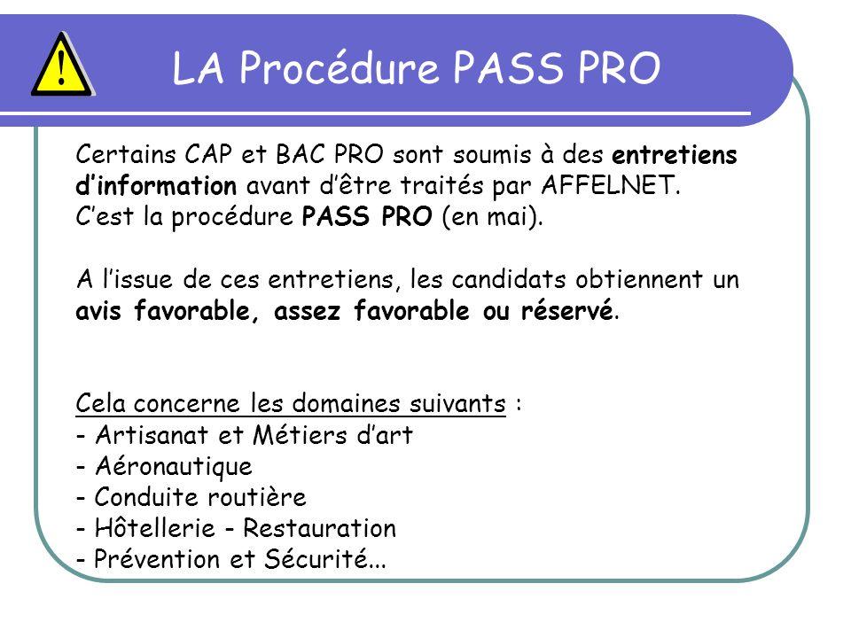 LA Procédure PASS PRO Certains CAP et BAC PRO sont soumis à des entretiens dinformation avant dêtre traités par AFFELNET. Cest la procédure PASS PRO (