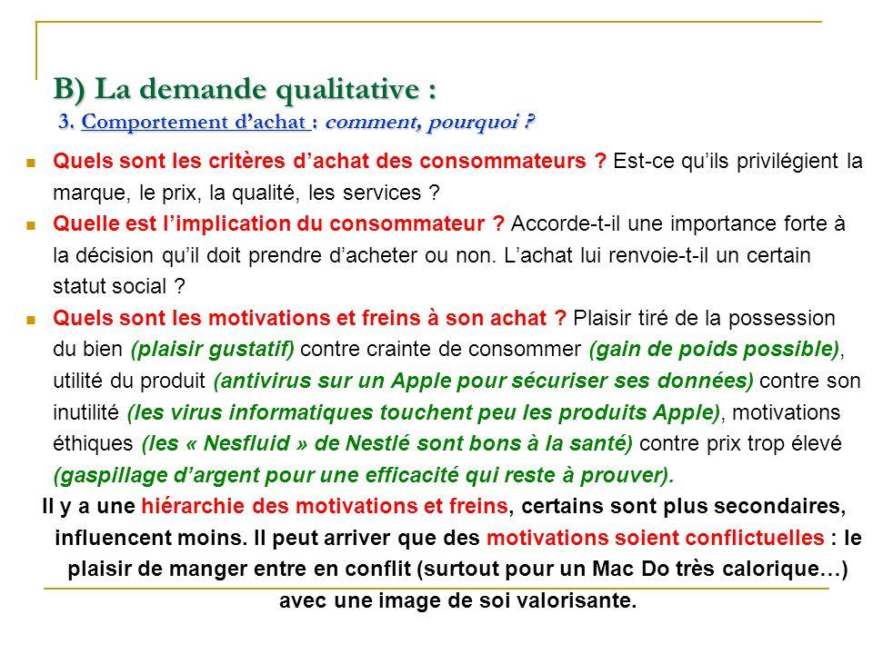 B) La demande qualitative : 3. Comportement dachat : comment, pourquoi ? Quels sont les critères dachat des consommateurs ? Est-ce quils privilégient