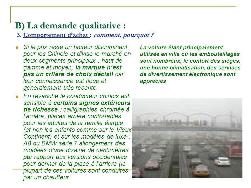 B) La demande qualitative : 3. Comportement dachat : comment, pourquoi ? Si le prix reste un facteur discriminant pour les Chinois et divise le marché