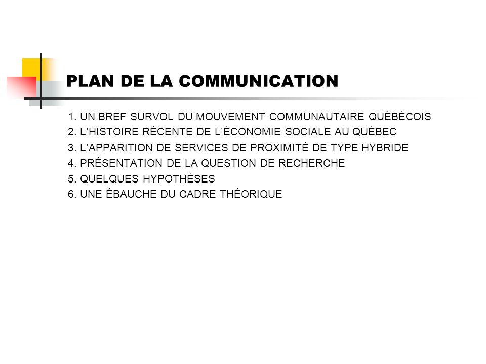 PLAN DE LA COMMUNICATION 1. UN BREF SURVOL DU MOUVEMENT COMMUNAUTAIRE QUÉBÉCOIS 2.