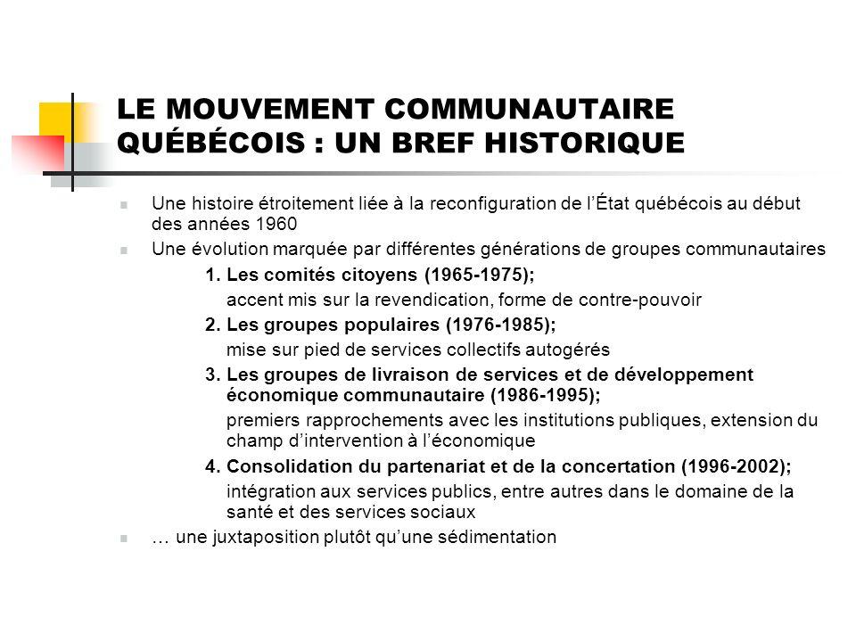 LE MOUVEMENT COMMUNAUTAIRE QUÉBÉCOIS : UN BREF HISTORIQUE Une histoire étroitement liée à la reconfiguration de lÉtat québécois au début des années 1960 Une évolution marquée par différentes générations de groupes communautaires 1.
