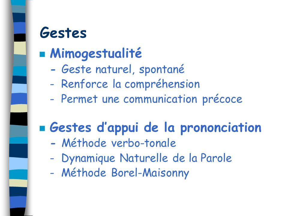 Gestes n Mimogestualité - Geste naturel, spontané - Renforce la compréhension - Permet une communication précoce n Gestes dappui de la prononciation -