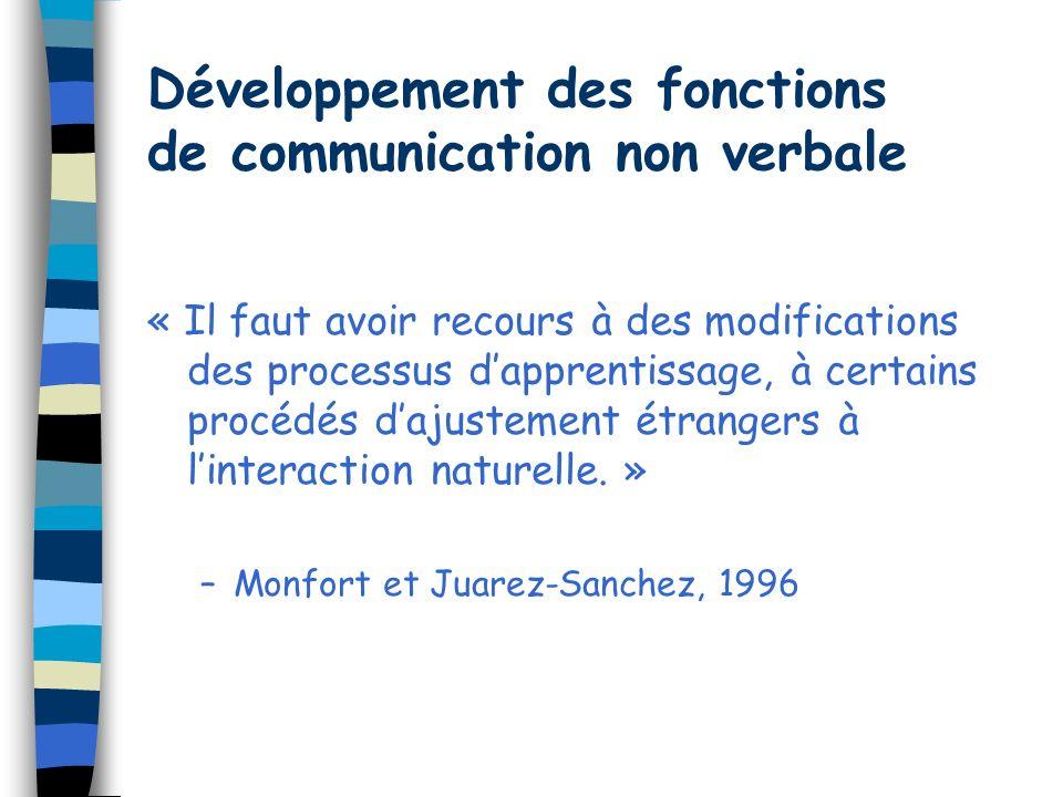 Développement des fonctions de communication non verbale « Il faut avoir recours à des modifications des processus dapprentissage, à certains procédés dajustement étrangers à linteraction naturelle.