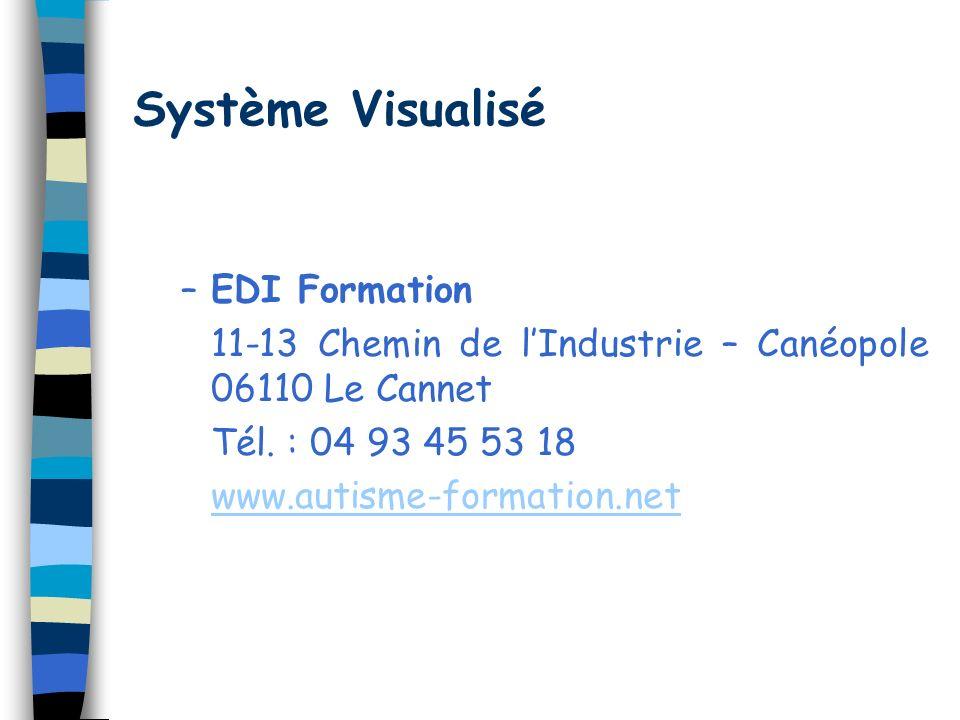 Système Visualisé –EDI Formation 11-13 Chemin de lIndustrie – Canéopole 06110 Le Cannet Tél. : 04 93 45 53 18 www.autisme-formation.net