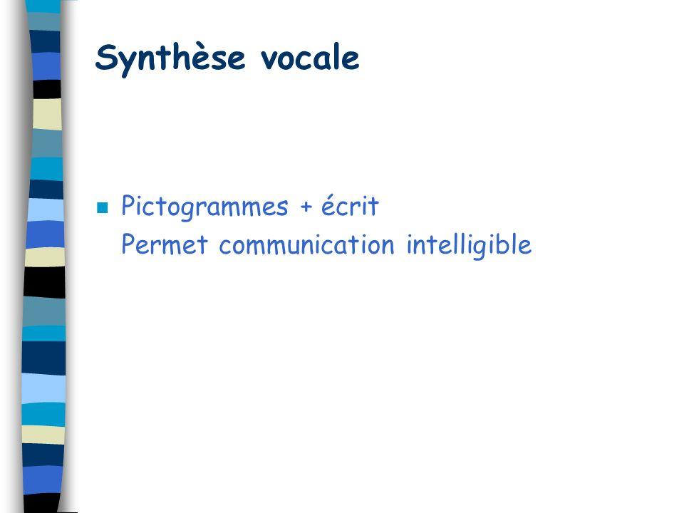 Synthèse vocale n Pictogrammes + écrit Permet communication intelligible