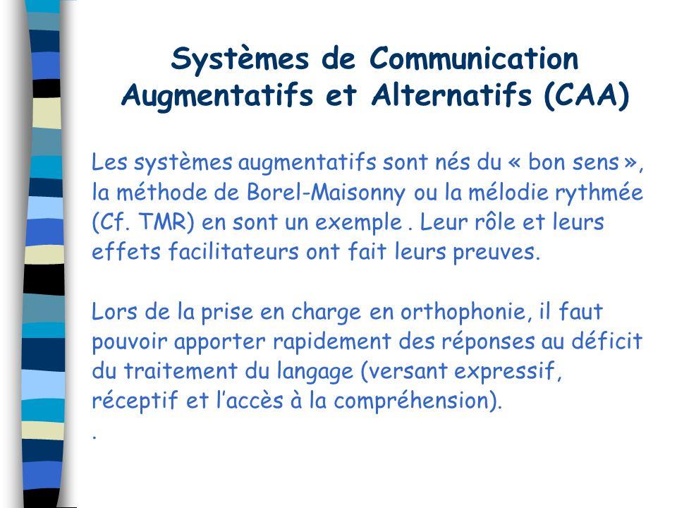 Systèmes de Communication Augmentatifs et Alternatifs (CAA) Les systèmes augmentatifs sont nés du « bon sens », la méthode de Borel-Maisonny ou la mél