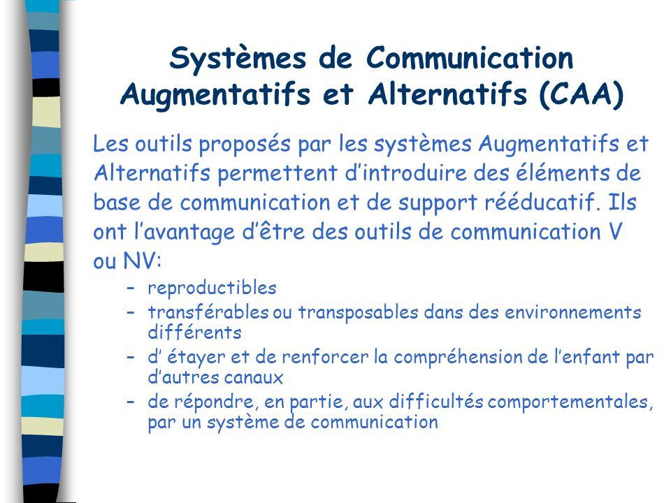 Systèmes de Communication Augmentatifs et Alternatifs (CAA) Les outils proposés par les systèmes Augmentatifs et Alternatifs permettent dintroduire des éléments de base de communication et de support rééducatif.