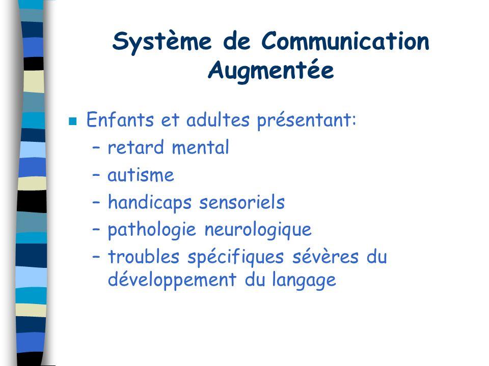 Système de Communication Augmentée n Enfants et adultes présentant: –retard mental –autisme –handicaps sensoriels –pathologie neurologique –troubles spécifiques sévères du développement du langage