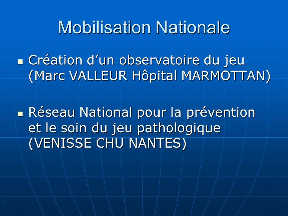Mobilisation Nationale Création dun observatoire du jeu (Marc VALLEUR Hôpital MARMOTTAN) Création dun observatoire du jeu (Marc VALLEUR Hôpital MARMOT