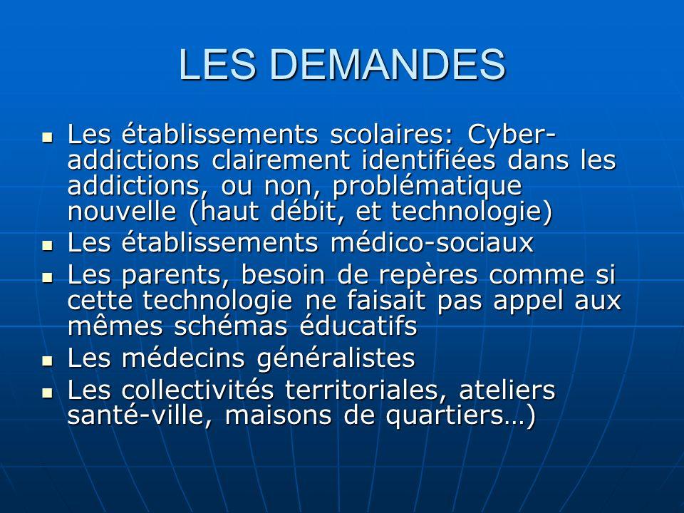 LES DEMANDES Les établissements scolaires: Cyber- addictions clairement identifiées dans les addictions, ou non, problématique nouvelle (haut débit, e